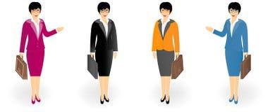 L'insieme delle donne di affari in ufficio copre con una cartella isolata su bianco illustrazione vettoriale