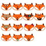 L'insieme delle emozioni di divertimento foxes gli smiley isolato su fondo bianco Fotografia Stock Libera da Diritti