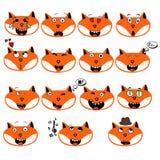L'insieme delle emozioni di divertimento foxes gli smiley isolato su fondo bianco Immagini Stock Libere da Diritti