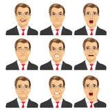 L'insieme delle espressioni differenti dello stesso mezzo ha invecchiato l'uomo d'affari con i vetri royalty illustrazione gratis