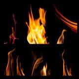 L'insieme delle fiamme del fuoco ha isolato il fondo nero Fotografia Stock