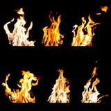 L'insieme delle fiamme del fuoco ha isolato il fondo nero Immagini Stock