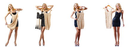 L'insieme delle foto con la donna che prova nuovo abbigliamento Immagine Stock
