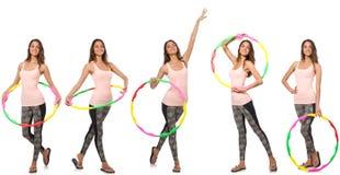 L'insieme delle foto con la donna ed il hula-hoop Fotografie Stock Libere da Diritti