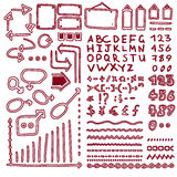 L'insieme delle frecce disegnate a mano degli elementi, linee, grafici, lettere, per la matematica firma Fotografia Stock
