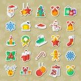 L'insieme delle icone del nuovo anno e di Natale vector l'applique di clipart Fotografie Stock Libere da Diritti