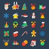 L'insieme delle icone del nuovo anno e di Natale vector il clipart Immagini Stock