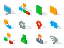 L'insieme delle icone di affari 3D vector l'illustrazione isolata su bianco Immagini Stock