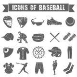 L'insieme delle icone di baseball su bianco ha isolato il fondo Immagine Stock Libera da Diritti