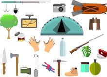L'insieme delle icone di campeggio, vector gli elementi piani Fotografie Stock