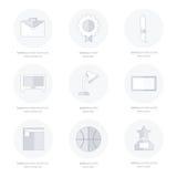 L'insieme delle icone piane di istruzione e della scuola ha messo la linea stili delle icone Immagine Stock