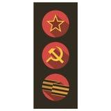L'insieme delle icone piane di stile dell'Unione Sovietica firma Immagine Stock Libera da Diritti