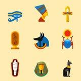L'insieme delle icone piane di viaggio dell'egitto di progettazione di vettore coltiva l'illustrazione antica degli elementi Fotografie Stock