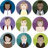 L'insieme delle icone rotonde vector i ritratti dell'ufficio femminile e maschio wo Immagine Stock