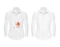 L'insieme delle illustrazioni di vettore di una camicia bianca con un punto rosso e pulisce, prima e dopo un asciutto-pulitore illustrazione di stock