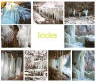 L'insieme delle immagini con la corrente di caduta dell'acqua ha formato la crosta del ghiaccio sui precedenti delle rocce Fotografia Stock Libera da Diritti