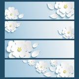 L'insieme delle insegne con 3d ha stilizzato i fiori sakura e le foglie Fotografia Stock