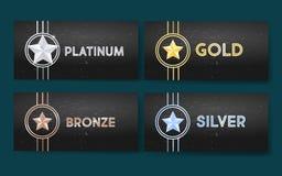 L'insieme delle insegne nere con oro, platino, argento e bronzo stars, medaglia, risultato illustrazione di stock