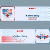 L'insieme delle insegne progetta con le stelle e le bandiere per la festa del lavoro americana Immagine Stock Libera da Diritti