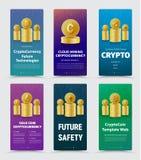 L'insieme delle insegne verticali di vettore per valuta cripto con differen Immagine Stock
