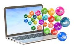 L'insieme delle palle colorate con i Domain Name vola fuori dal computer portatile, 3D Fotografia Stock