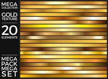 L'insieme delle pendenze dell'oro, raccolta dorata di vettore dei quadrati, struttura il gruppo Fotografia Stock