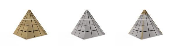 L'insieme delle piramidi metalliche Immagine Stock Libera da Diritti