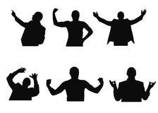 L'insieme delle siluette dell'uomo che cercano, meditare, danti il benvenuto, aventi timore e mostranti muscles Immagine Stock Libera da Diritti