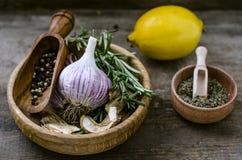 L'insieme delle spezie: pepi i rosmarini dell'aglio del limone, il porcini secco MU Immagine Stock Libera da Diritti