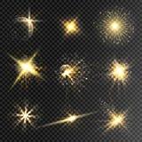 L'insieme delle stelle di incandescenza e dell'effetto della luce scoppia con le scintille i fotografia stock