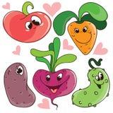 L'insieme delle verdure sveglie divertenti del fumetto di vettore con i fronti sorridenti per gli autoadesivi o i bambini progett Immagini Stock Libere da Diritti