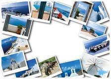 L'insieme delle viste dal villaggio di OIA nell'isola di Santorini in Grecia Fotografia Stock