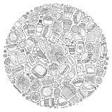L'insieme dello scarabocchio del fumetto degli alimenti a rapida preparazione obietta, simboli e oggetti royalty illustrazione gratis