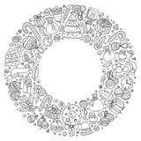 L'insieme dello scarabocchio del fumetto del nuovo anno obietta intorno alla struttura Immagini Stock