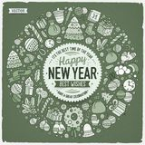 L'insieme dello scarabocchio del fumetto del nuovo anno obietta intorno alla struttura Immagine Stock