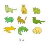 L'insieme dello scarabocchio differente posa il gatto pets royalty illustrazione gratis
