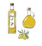 L'insieme dello scarabocchio obietta l'olio d'oliva Fotografia Stock Libera da Diritti
