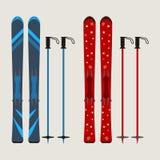 L'insieme dello sci e dello sci attacca - attrezzatura di inverno - vector il illustrati Immagine Stock Libera da Diritti