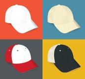 L'insieme dello spazio in bianco realistico mette in mostra il berretto da baseball Fotografia Stock