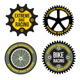 L'insieme dello sport estremo della bicicletta ha collegato il logo, emblemi Fotografia Stock