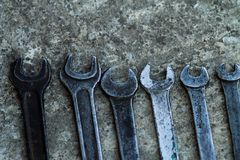 L'insieme dello strumento industriale pratico della chiave venduto digita uno strumento pratico dell'officina meccanica Fotografia Stock Libera da Diritti