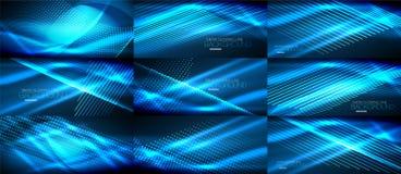 L'insieme di al neon blu liscia gli ambiti di provenienza astratti digitali dell'onda illustrazione vettoriale
