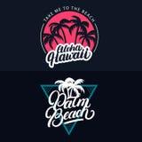 L'insieme di Aloha Hawaii e Palm Beach passano l'iscrizione scritta con le palme Immagine Stock Libera da Diritti