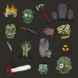 L'insieme di apocalisse dello zombie Immagine Stock