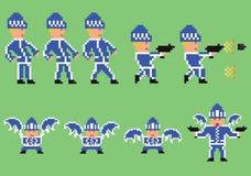 L'insieme di arte del pixel del bandito nello sport blu copre illustrazione vettoriale