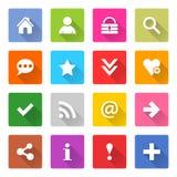 L'insieme di base piano dell'icona ha arrotondato il bottone quadrato di web Fotografia Stock