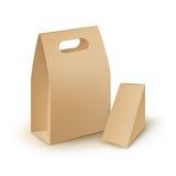 L'insieme di cartone porta via le scatole di pranzo della maniglia che imballano per l'alimento, regalo, altri prodotti deride su illustrazione di stock