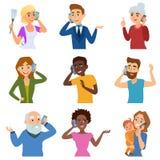 L'insieme di chiamata del settore della telefonia mobile carattere di conversazione del telefono della gente adulta vector l'illu royalty illustrazione gratis