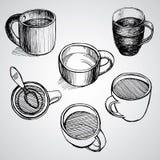 L'insieme di coffe aggredisce lo stile di schizzo del disegno Fotografie Stock Libere da Diritti