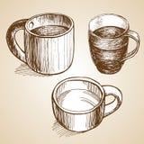 L'insieme di coffe aggredisce lo stile di schizzo del disegno Immagini Stock Libere da Diritti
